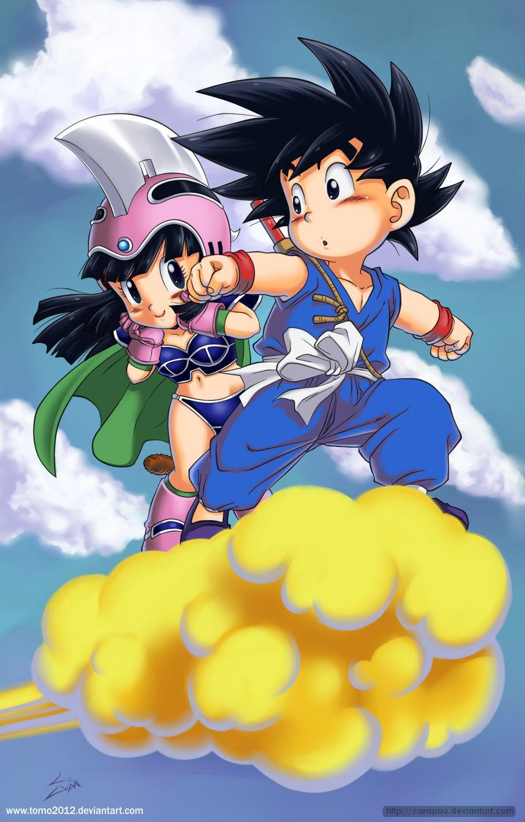 Goku x Milk de niños | lindo | Dragon ball, Goku y Dragon ...