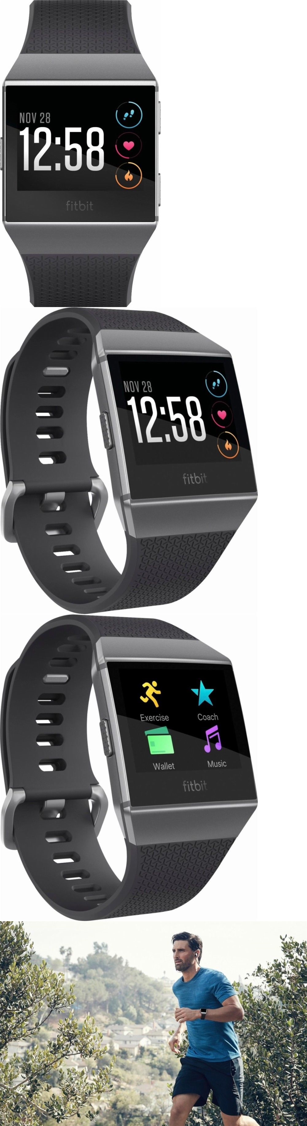 Pedometers 44077 Fitbit Ionic Smartwatch Charcoal Black Smoke Gray Brand New Sealed