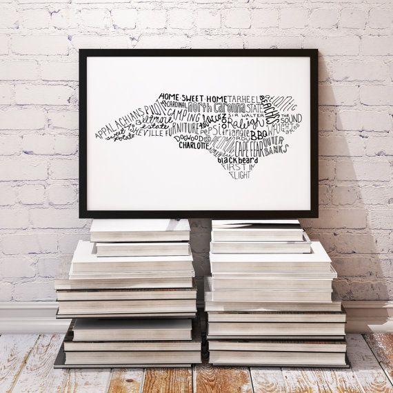 State of North Carolina Typography Print; Christmas Gift; Wall Decor