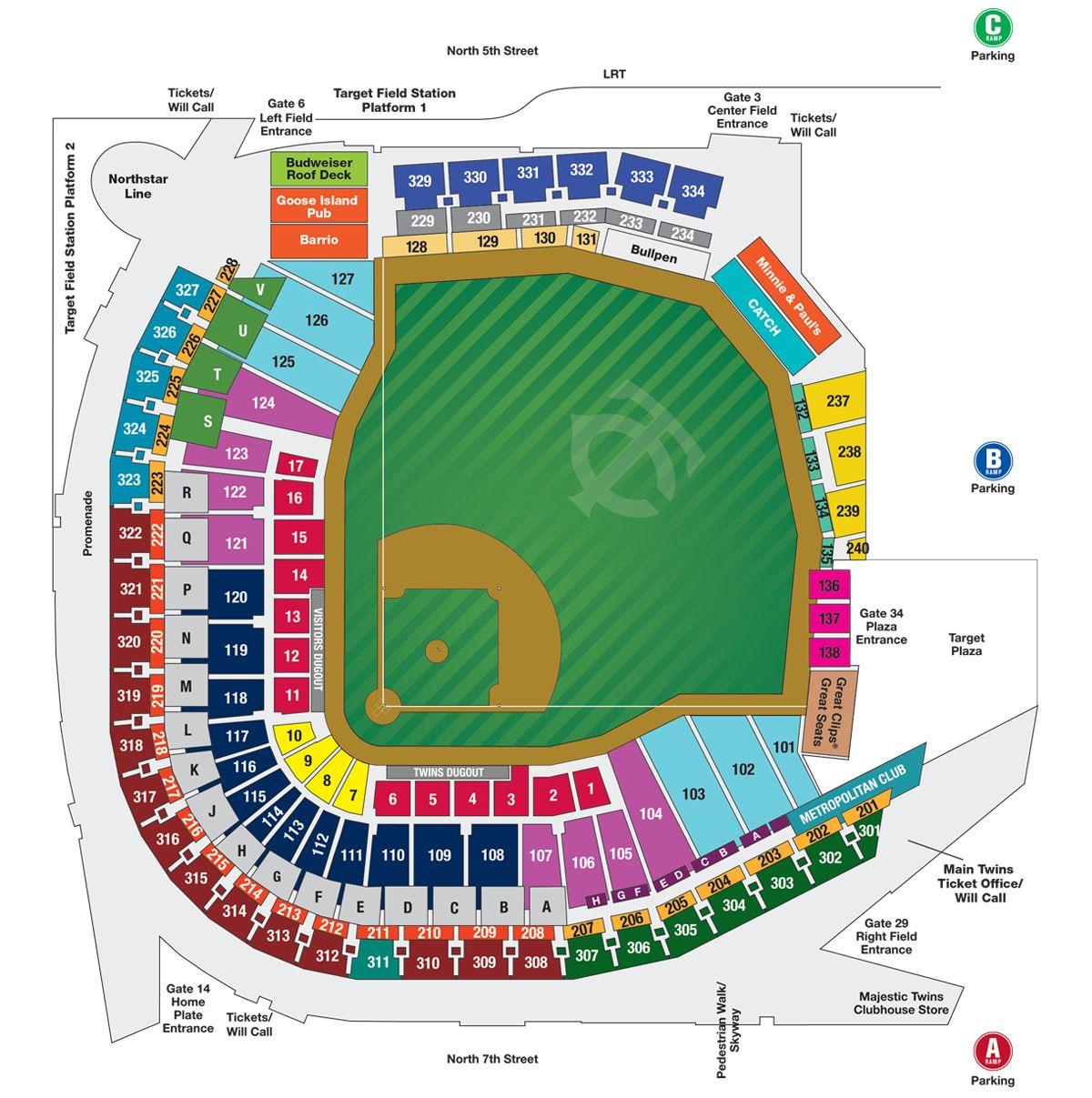 Target Field Seating Map Target Field Minnesota Twins Seating Charts