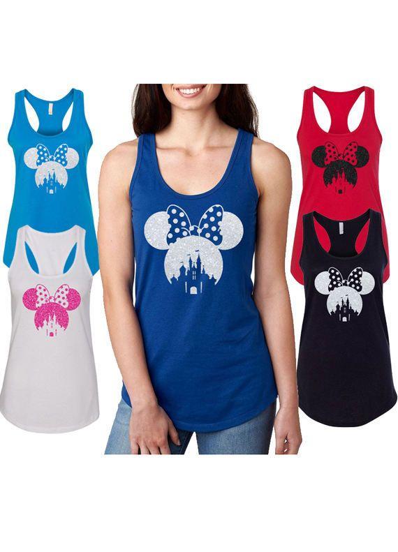 12d38be5219ac Women s minnie mouse Glitter Tank Top Mickey Head Tank