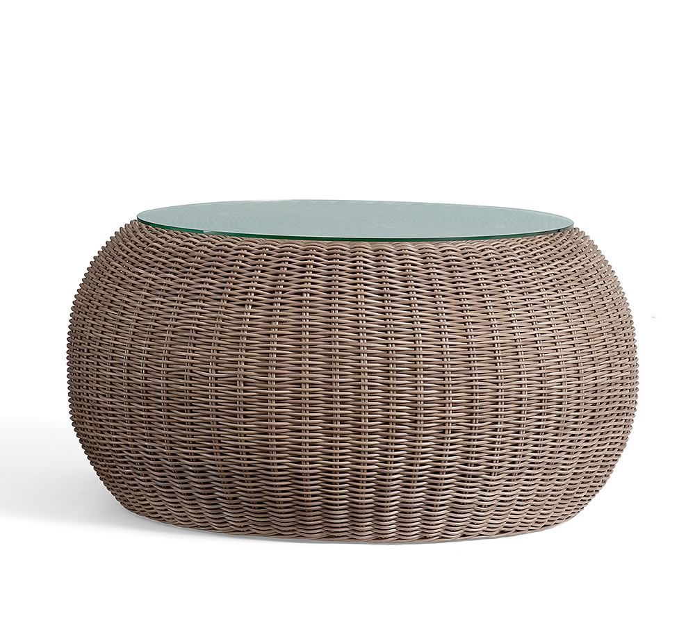 Torrey 36 5 All Weather Wicker Coffee Table Pouf Natural In 2021 Coffee Table Pouf Wicker Coffee Table Outdoor Accent Table [ jpg ]