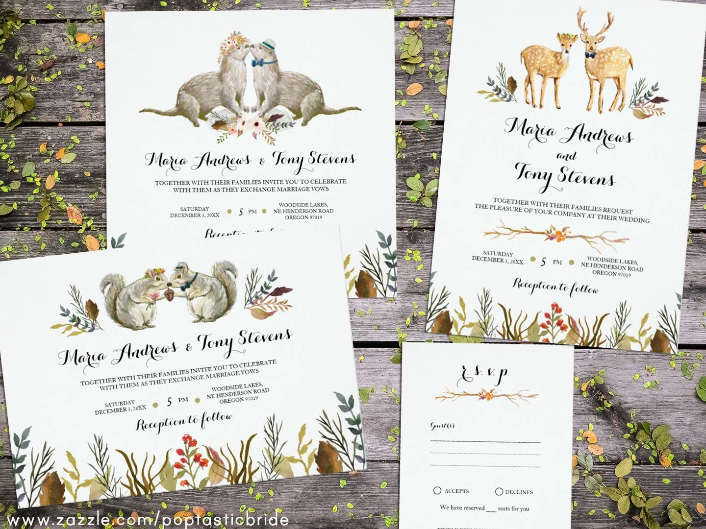 Animal Wedding Invitations Woodland Wedding Invites Deer Wedding