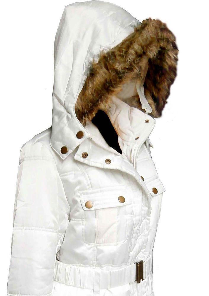 Damen Parka Jacke Steppjacke Winterjacke Kapuze creme weiß Neu Gr.36 . 09fc962850