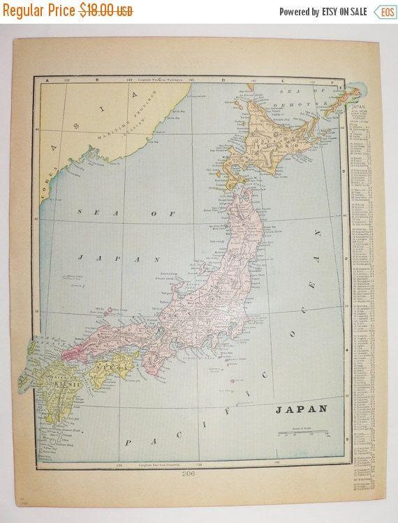 Vintage Map Of Japan China Map Antique Map Asian Decor - Japan map 1900