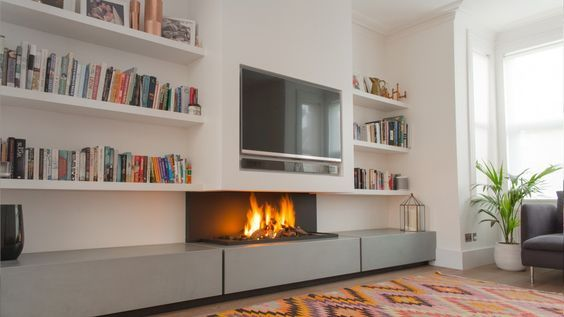 A Gas Fireplace With Tv Above Nicelook