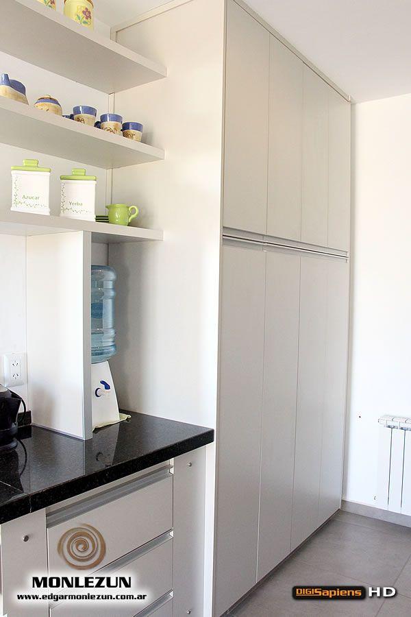 Amoblamiento Cocina Melamina color litio combinado con titanio | muebles