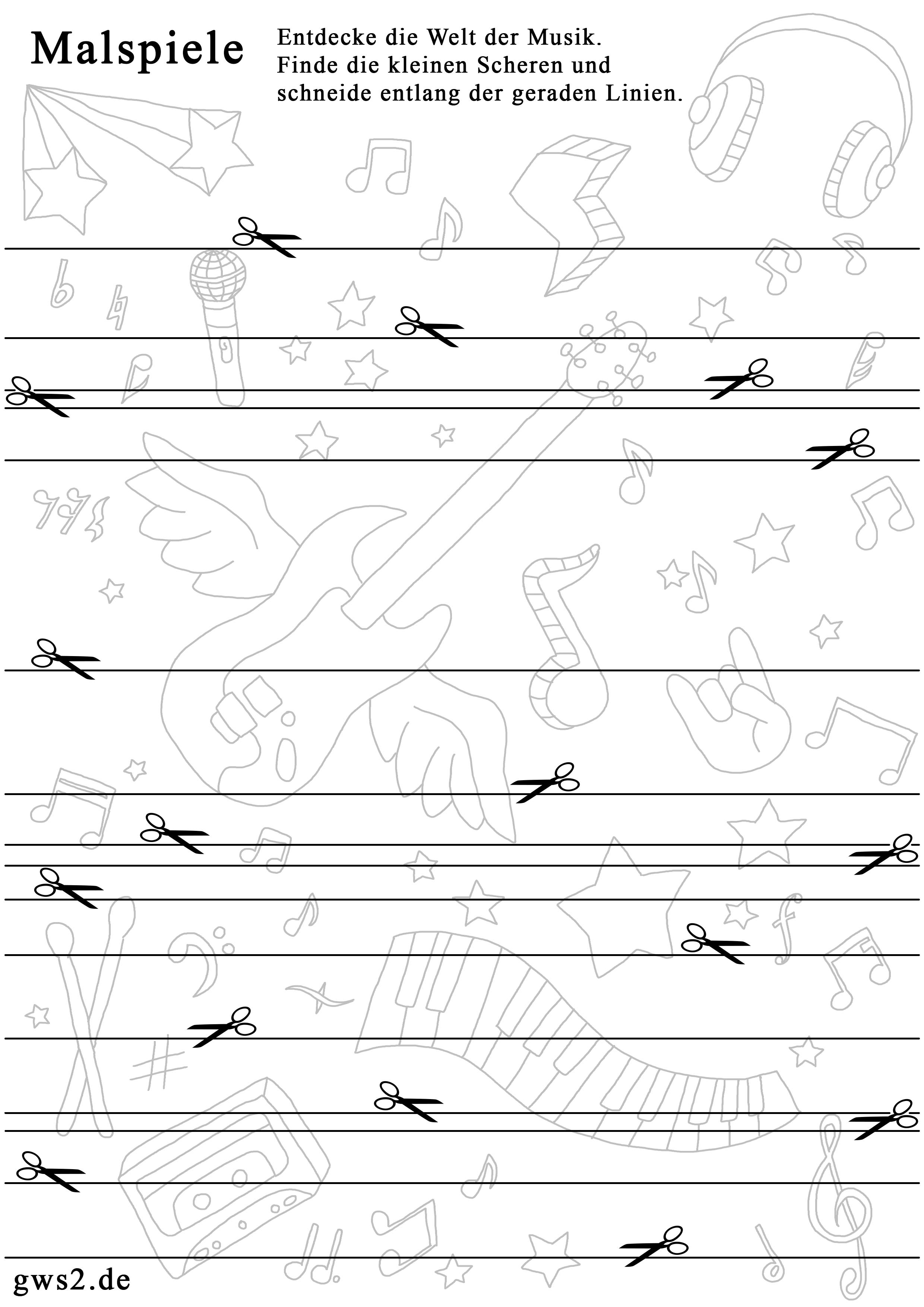 Schneiden lernen - Vorlage mit geraden Linien | Unterricht ...
