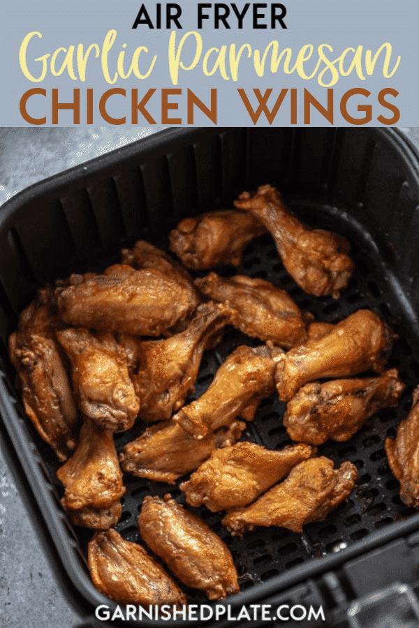 Air Fryer Garlic Parmesan Chicken Wings - Garnished Plate