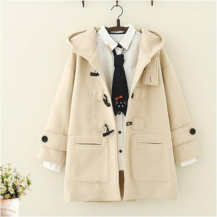 Japanese Long Hooded Coat with Horn Buckle