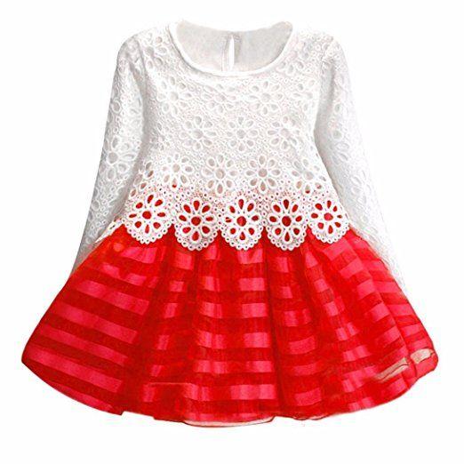 Sunnywill Mode Schöne Mädchen lange Ärmel Prinzessin Kleid Hollow ...
