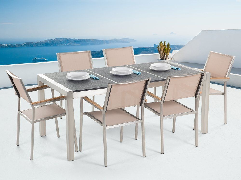 Set Giardino Tavolo Sedie.Set Di Tavolo E 6 Sedie Da Giardino In Acciaio Basalto E Fibra