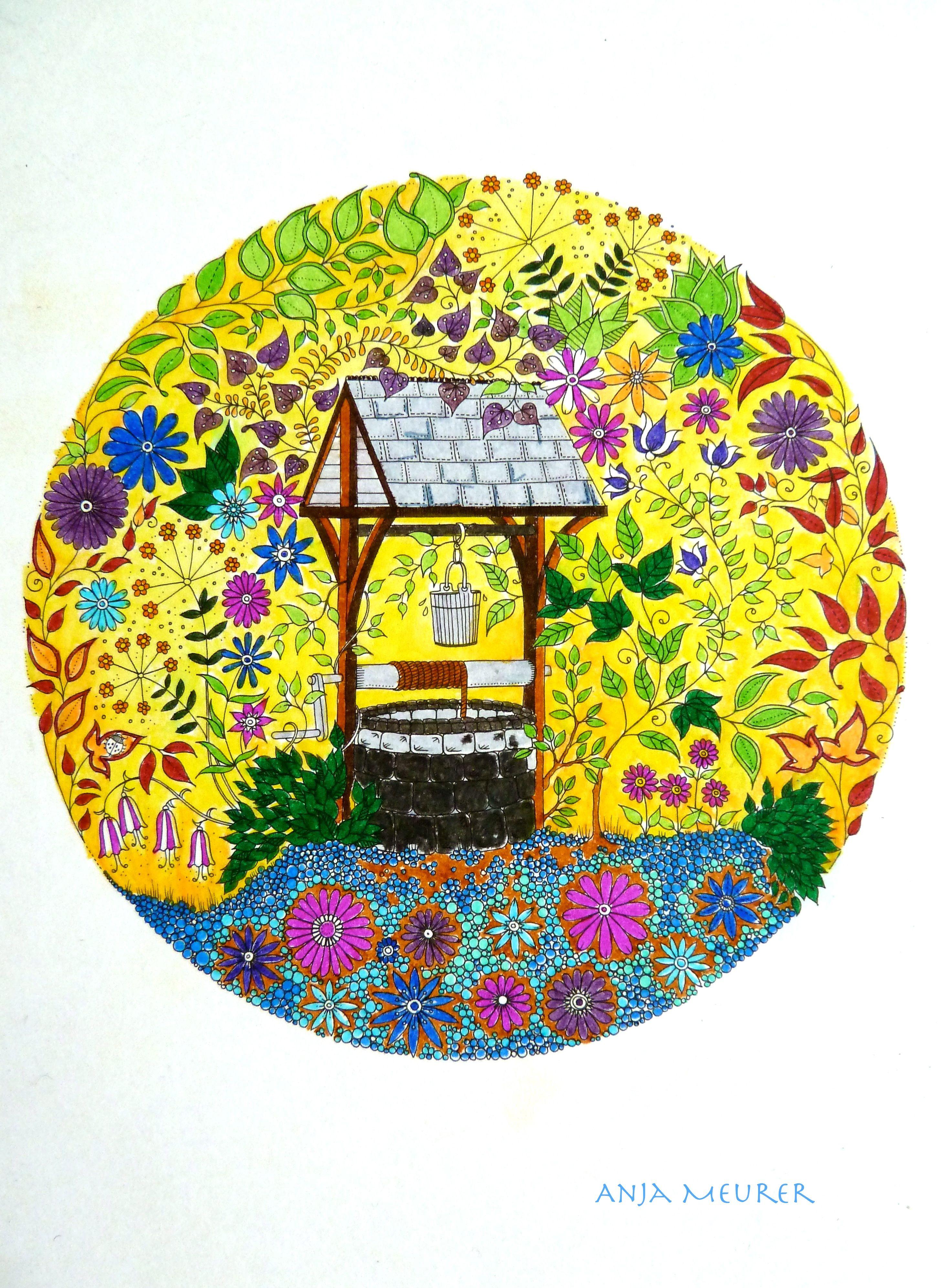 Picture From Johanna Basford Secret Garden Postcards Colouring Anja Meurer Secret Garden Coloring Book Secret Garden Colouring Postcard