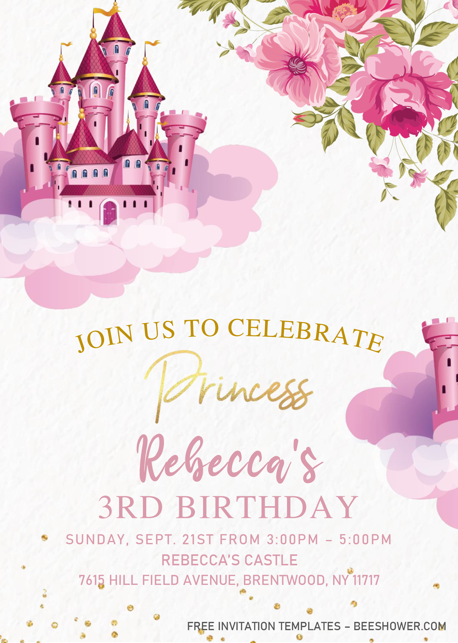 Princess Castle Baby Shower Invitation Templates Editab Free Printable Baby Shower Invitations Castle Baby Shower Invitation Baby Shower Invitation Templates