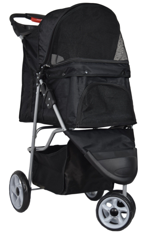 3Wheel Pet Stroller for Cats & Dogs, Zipperless Entry