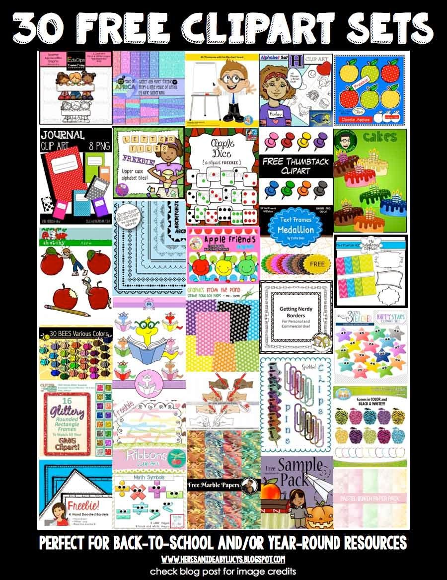 A selection of 30 FREE clipart sets for back-to-school or
