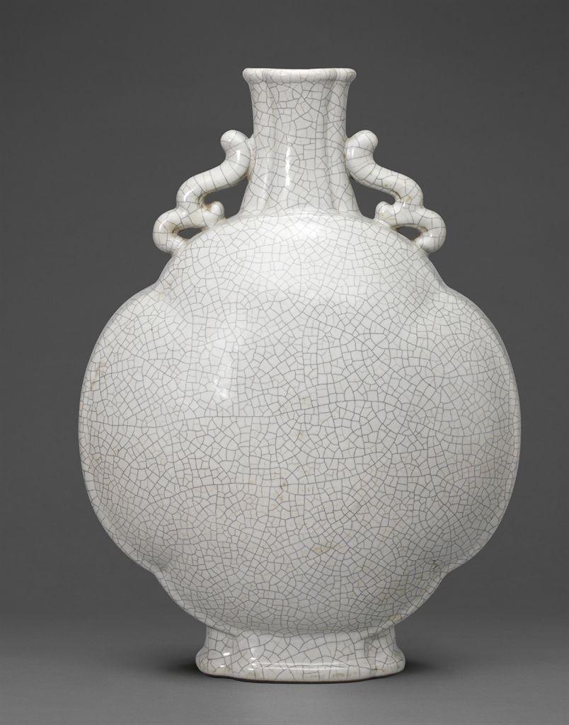 A large ge-type glazed quatrefoil moonflask