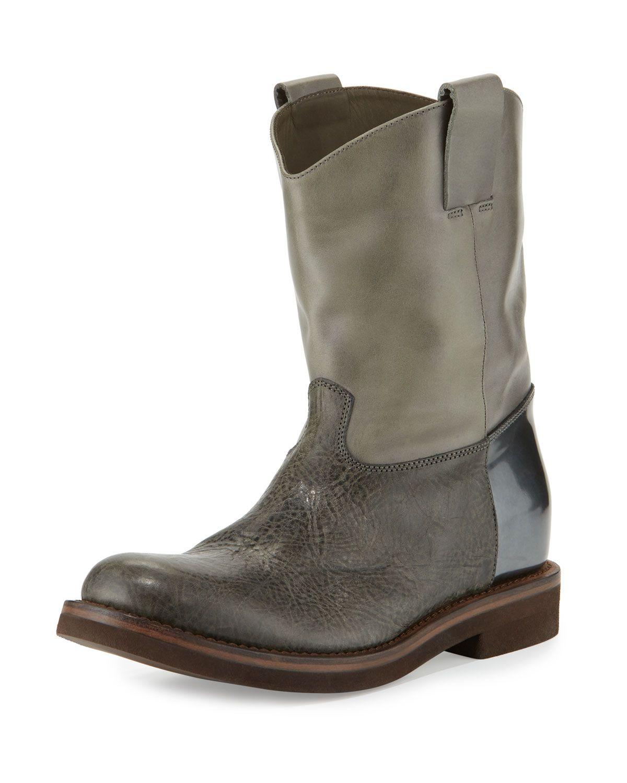 Brunello Cucinelli Texan Taste Leather Western Boot, Green, Women's, Size: 9.5B/39.5EU