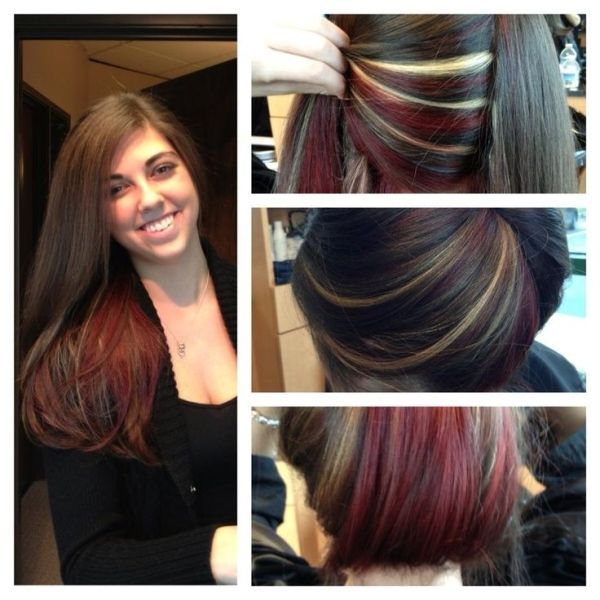 Red And Blonde Peek A Boos Red Blonde Highlights Peek A Boo By