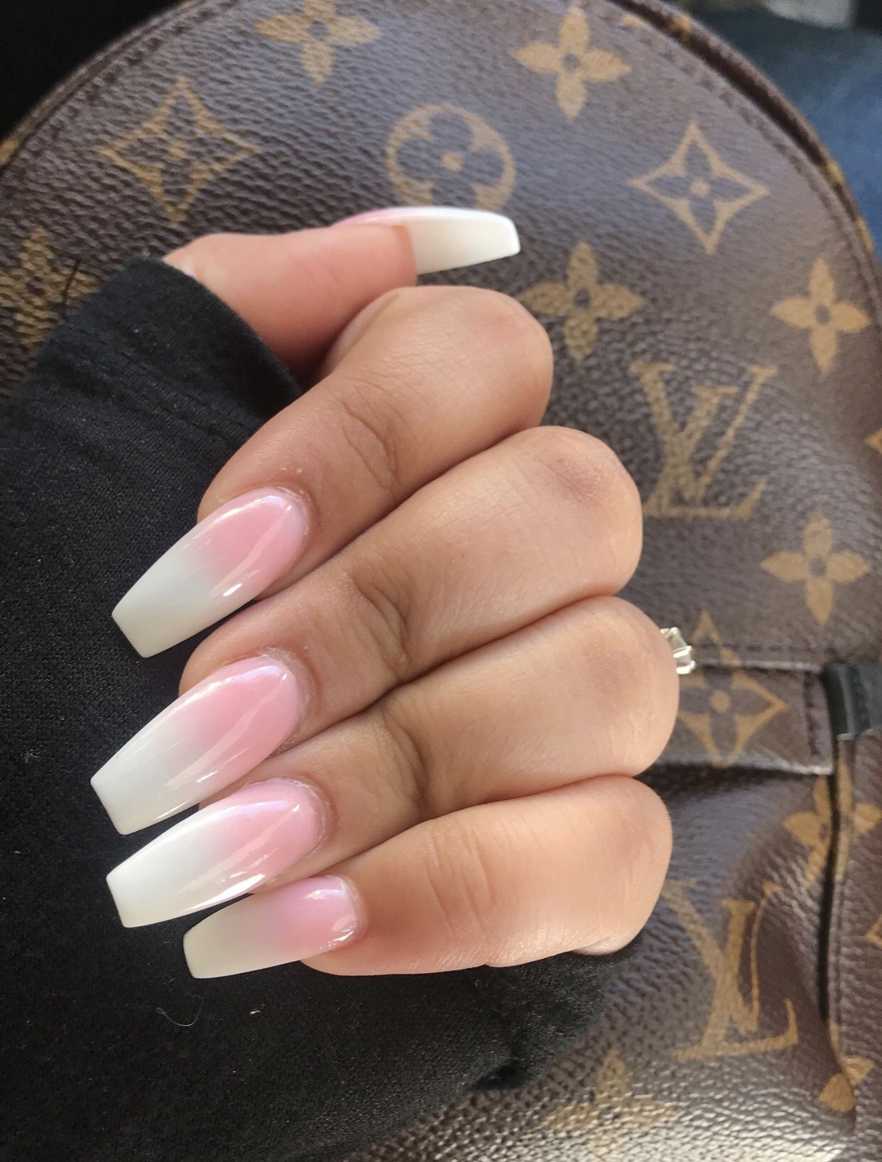 White Pink Ombre Coffin Nails Acrylic Powder Black Acrylic Nails Acrylic Nail Liquid White Nails