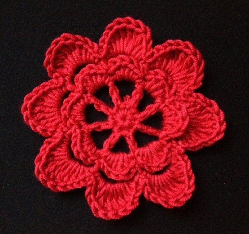 How to Crochet a Flower Pattern #4   CUADRADOS Y FLORES A CROCHET ...