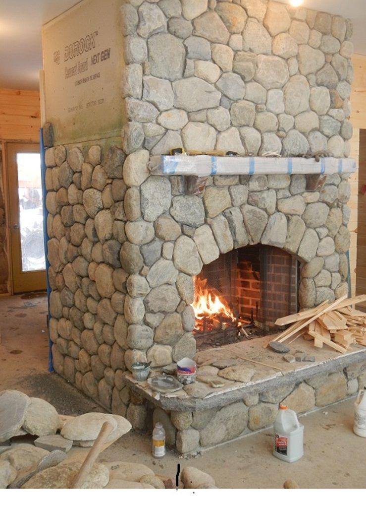 DIY Faux River Rock Fireplaces Diy stone fireplace, Faux