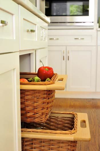 Pull Out Wicker Baskets In Cabinet By Woodharbor Woodharbor