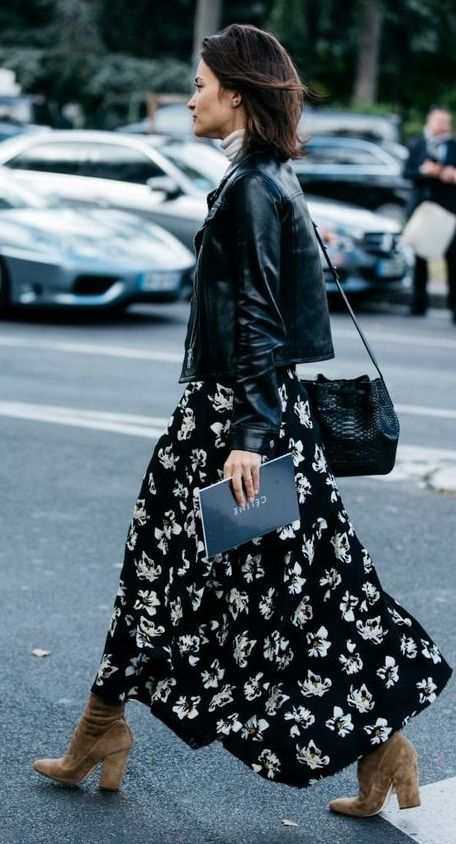 fall street style. floral maxi skirt/ boots. leather jacket. | Black floral maxi dress, Fashion, Street style