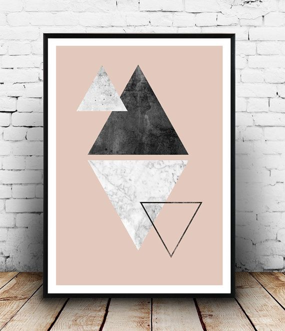 Triangle print marble print pink wall art by Wallzilla on Etsy
