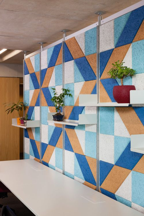 combined office interiors. BAUX Acoustic Tiles Combined With Vitsoe Shelving To Create A Bold And Graphic Office Interior. Interiors I