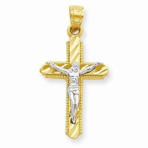 10k Yellow Rhodium Gold Polished Crucifix Pendant