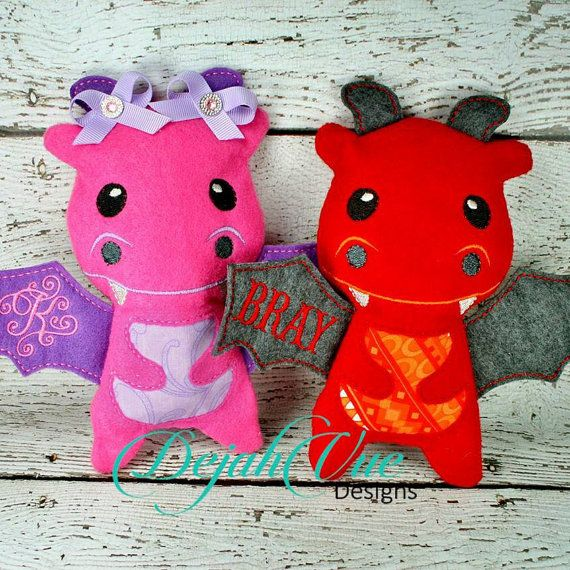Dragon Stuffie ITH Embroidery Design by DejahVueDesigns on