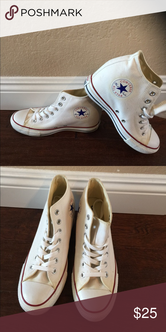 119ace3e535fc4 White Wedge Converse White Wedge Converse. Size  9. A little yellow around  some areas do to being in the box. Overall in great condition. Converse  Shoes ...
