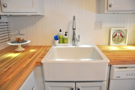 Wood Countertop Installation At Corner By Sink Ikea Farm Sink