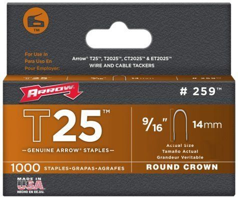 14mm T25 Arrow Staples 9//16 Pack of 1000