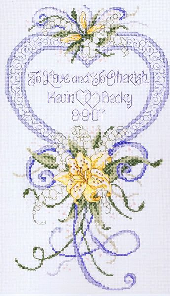To Love and to Cherish - A lovely wedding sampler with a heart, ribbons and flowers.
