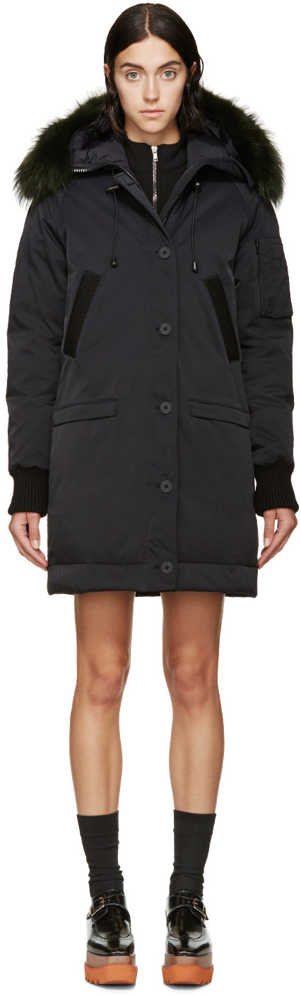 04efb109 Kenzo Black Down & Fur Tech Coat | Style | Coat, Black down ...
