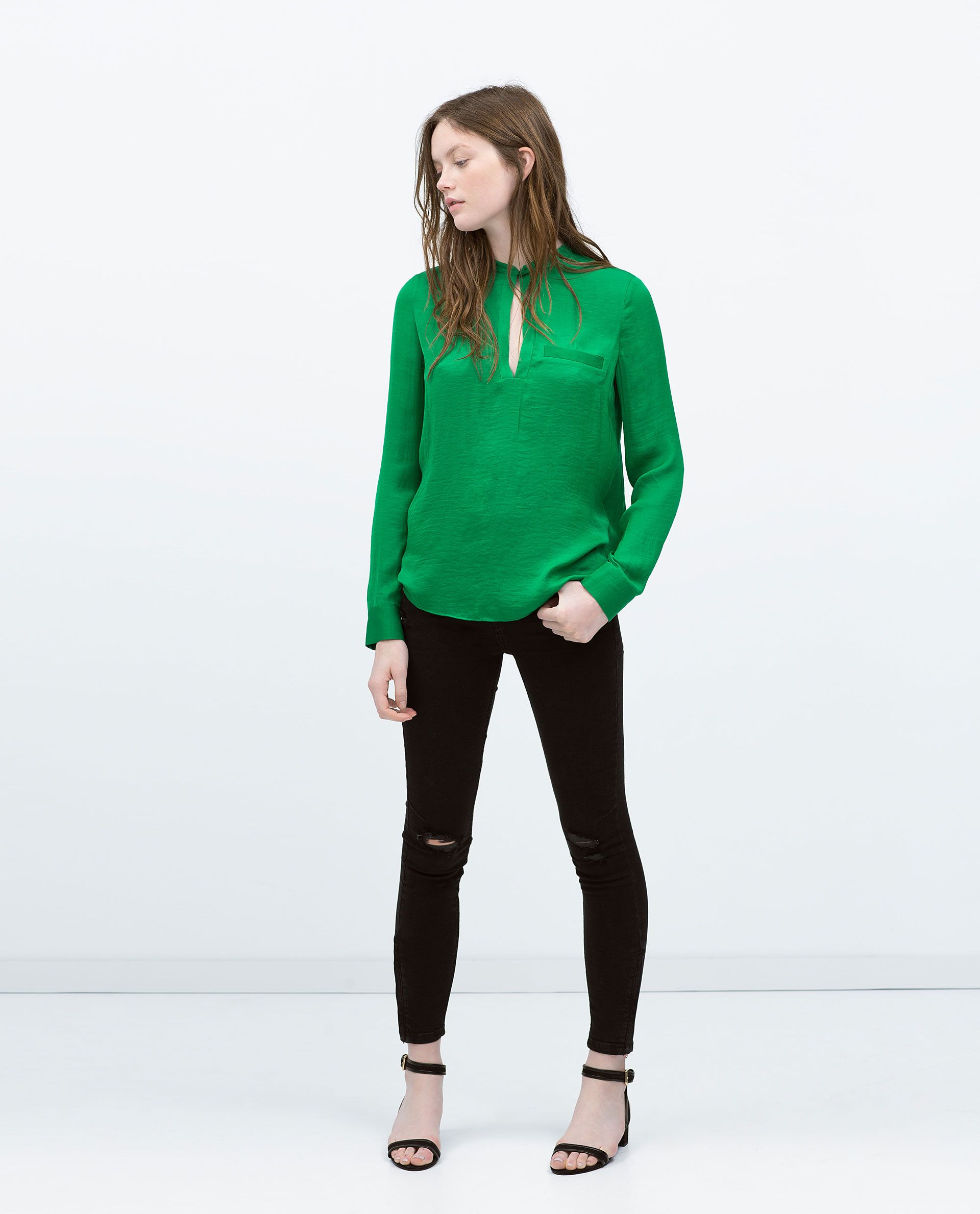 7eb9461aba3038 zara 4530004504 - Google Search Green Shirt Outfits