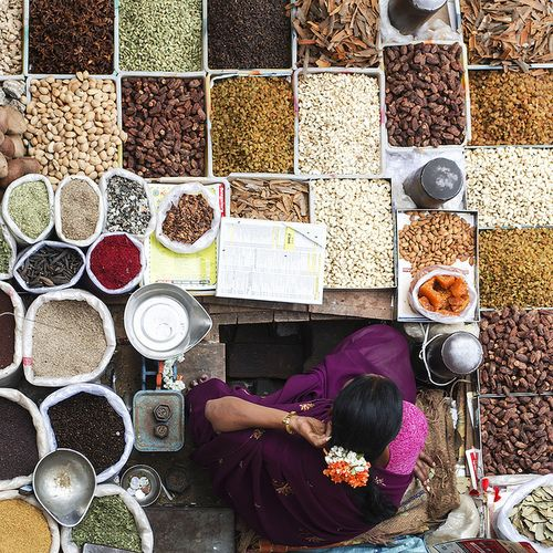 A Women selling dry spices at KR Market, Bangalore. These ingredients forms a essential part of every Indian's spicy food by Rajagopal #Expo2015 #Milan #WorldsFair