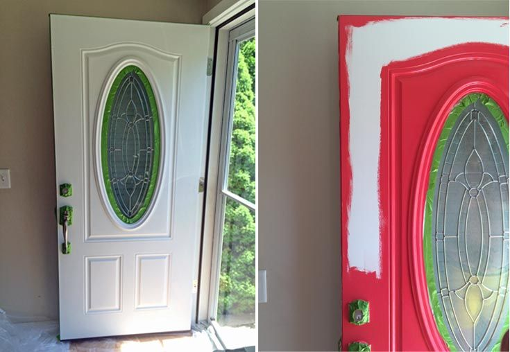 Painting An Oval Stained Glass Front Door Bright Red