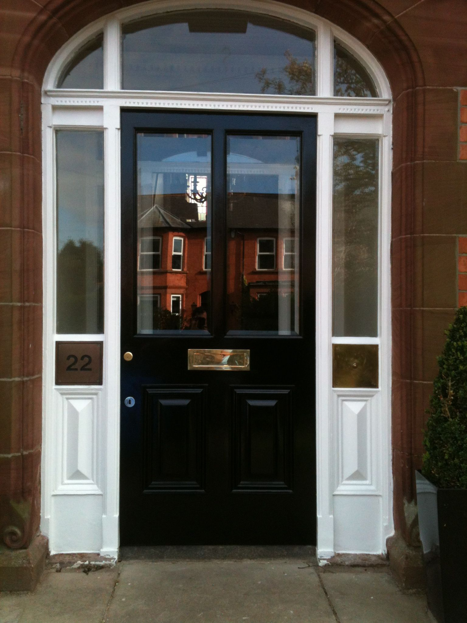 Bespoke hardwood painted entrance door with matching frame and glazed lights by Belfast Bespoke & Bespoke hardwood painted entrance door with matching frame and ...