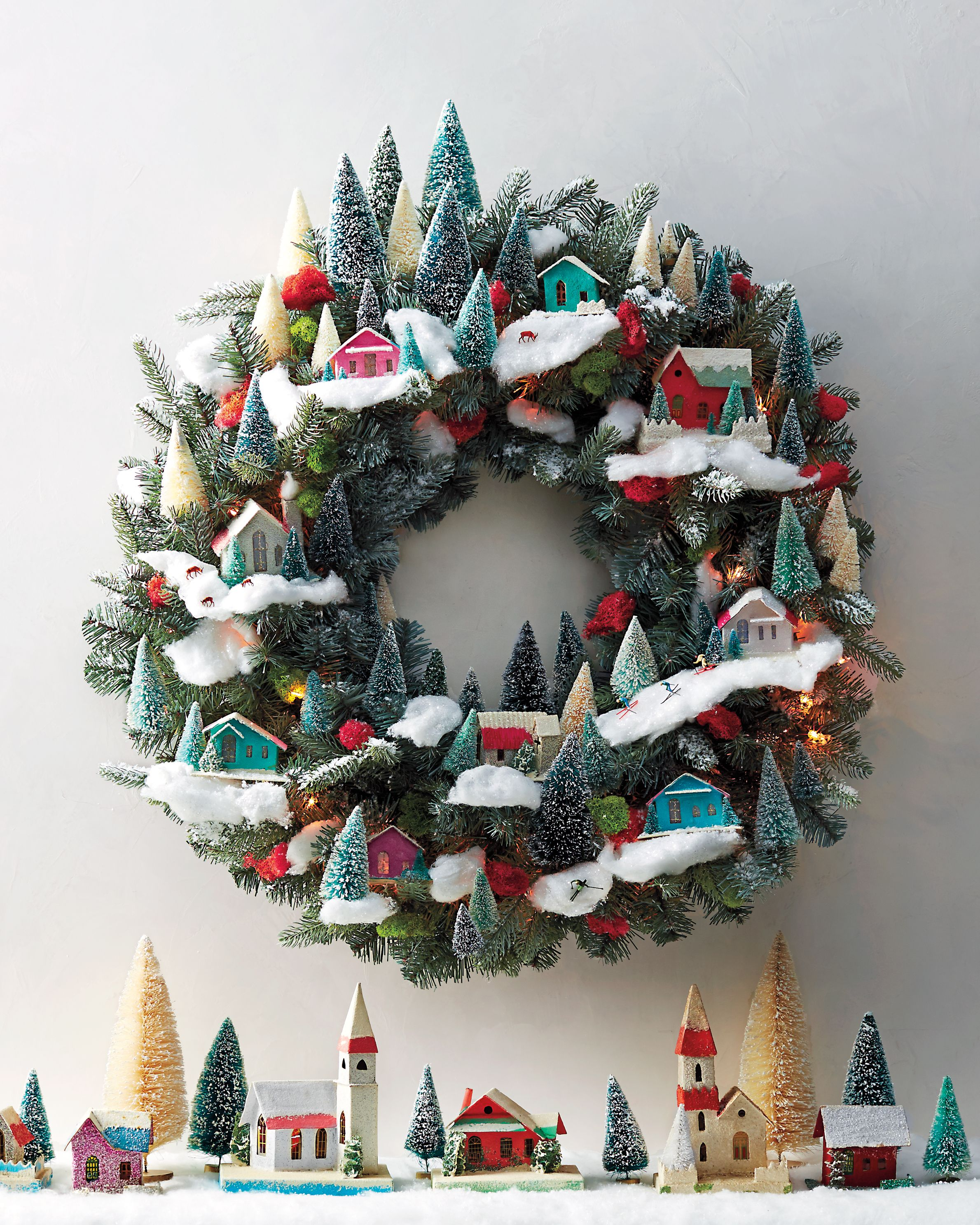 How To Make A Magical Christmas Wreath Of Village Miniatures