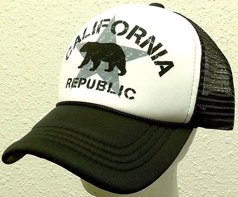 b45611e11e342 RETRO CALI CALIFORNIA REPUBLIC BEAR FLAG CA TRUCKER FOAM MESH CAP HAT  SNAPBACK  HIGHPREMIUMHATS  BaseballCap