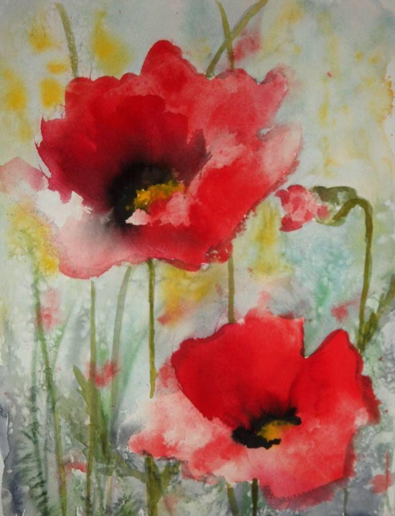 "Saatchi Art Artist Karin Johannesson; Painting, ""Red Poppies XII"" #art"