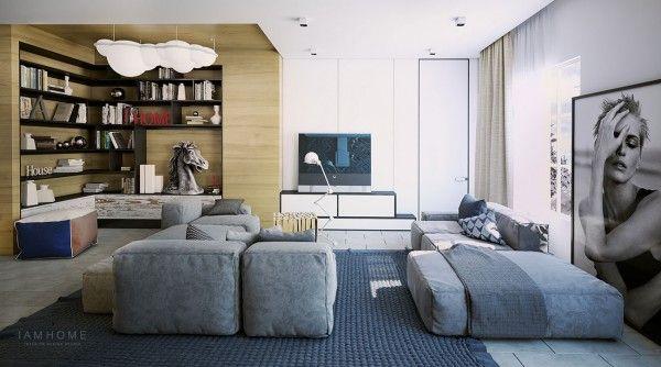 wohnzimmer graue polstermöbel holzverkleidung leseecke Wohnzimmer