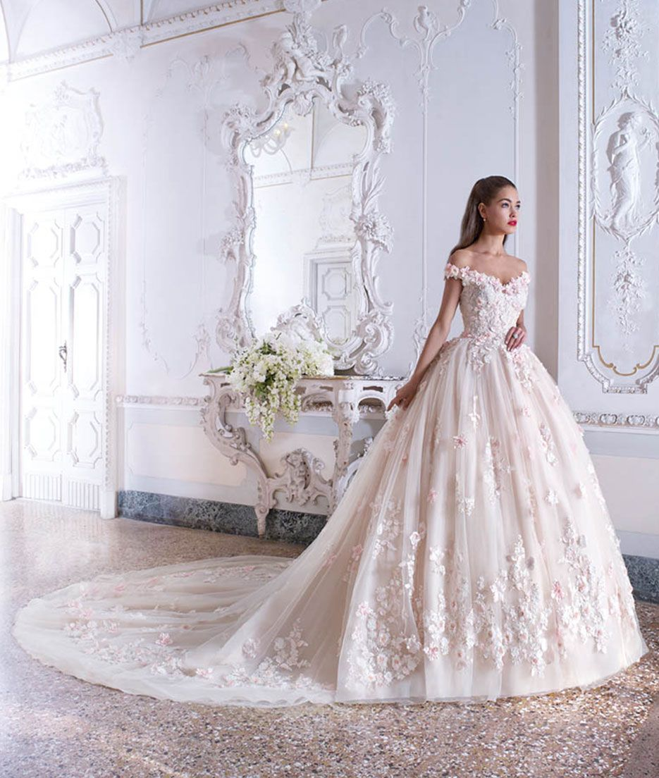 Pictures of Wedding Dresses with Pink and Platinum