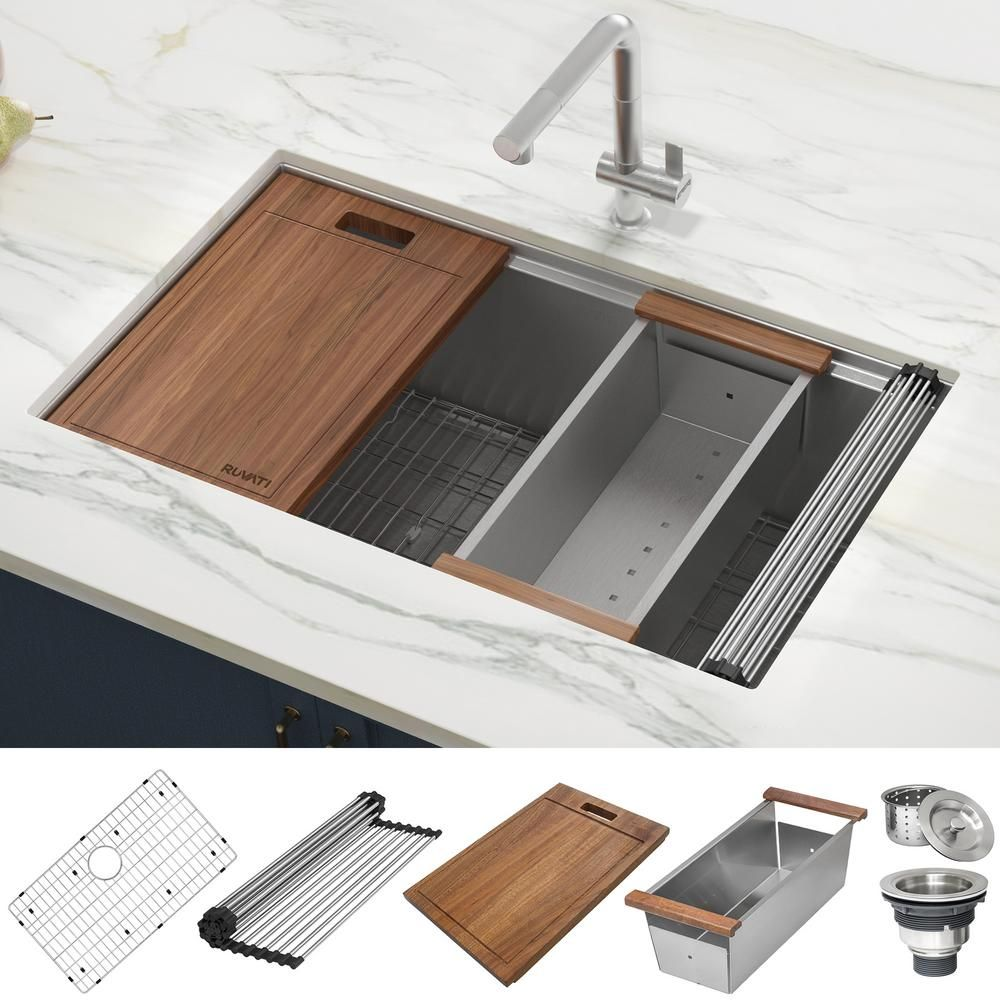 Ruvati 32 In Single Bowl Undermount 16 Gauge Stainless Steel Ledge Kitchen Sink With Sliding Accessories Rvh8300 The Home Depot In 2020 Stainless Steel Kitchen Sink Ledge Kitchen Sinks Best Kitchen Sinks