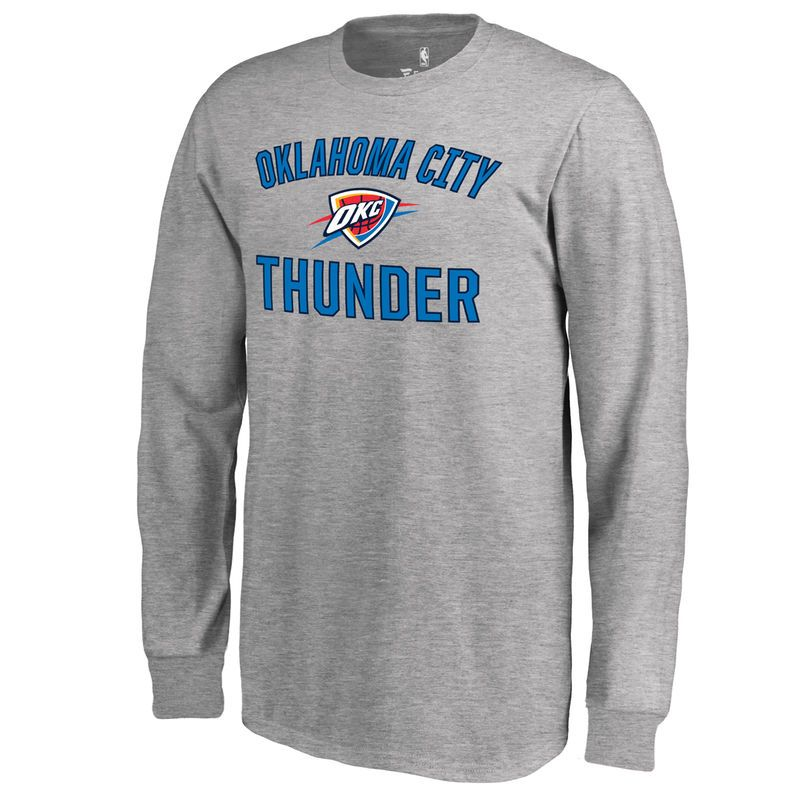 f999e9bd Youth Fanatics Branded Heathered Gray Oklahoma City Thunder Victory Arch  Long Sleeve T-Shirt