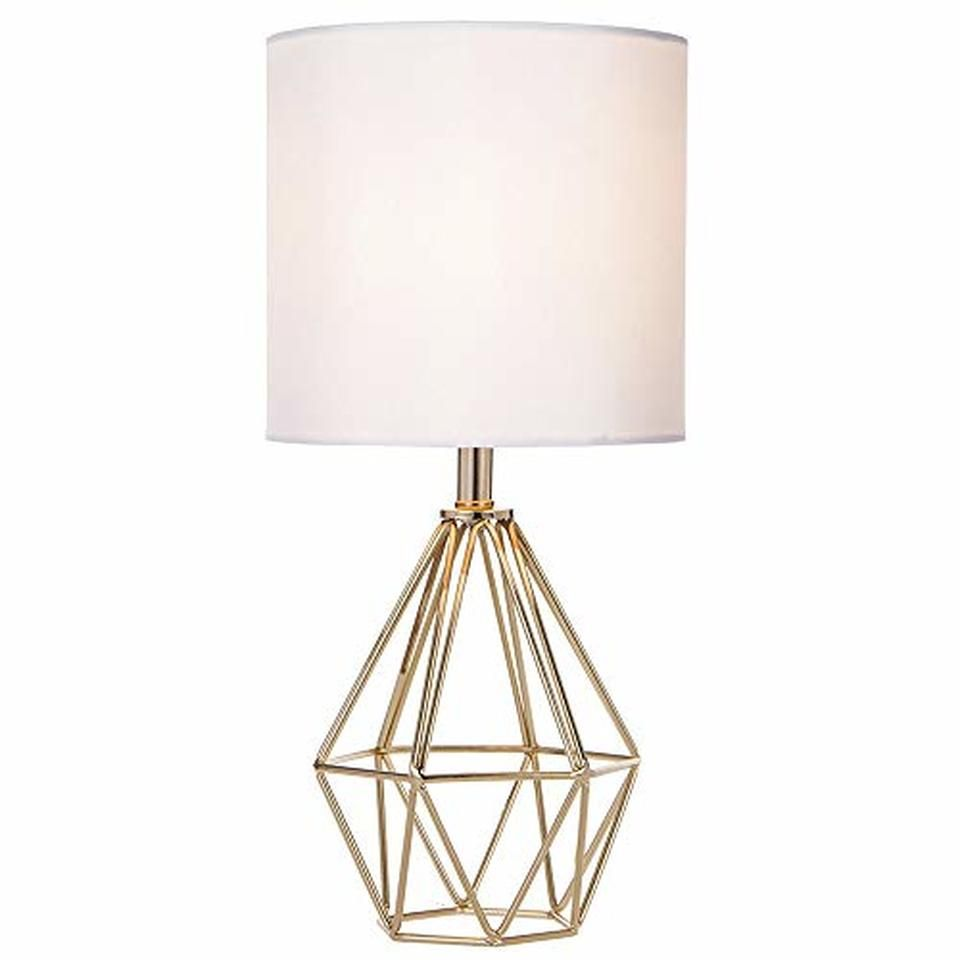 Cotulin Gold Modern Hollow Out Base Living Room Bedroom Small Table Lamp Bedside Lamp With Metal Base And White Fabric Shade Small Table Lamp Gold Table Lamp Table Lamp