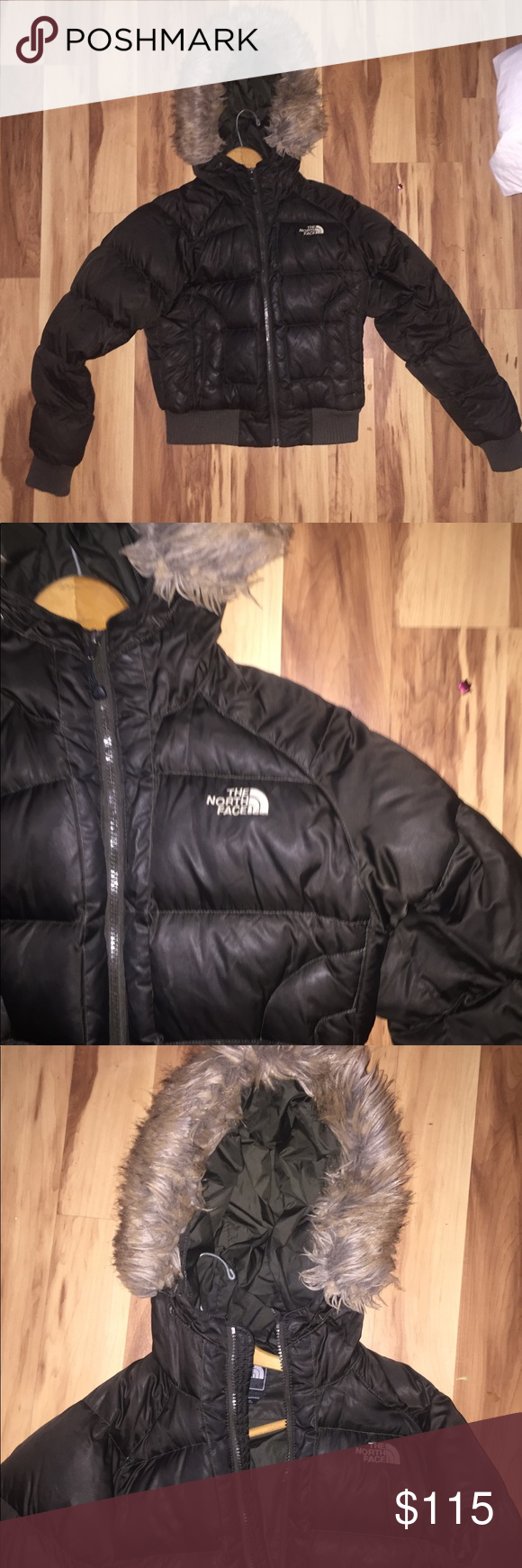 North Face Cropped W Fur Winter Jacket In Really Good Condition The Fur Is Just Slightly Matted The Color Is A Dark C Winter Jackets Jackets Clothes Design [ 1740 x 580 Pixel ]